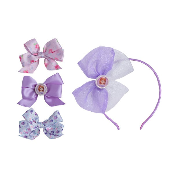 Disney Princess Sofia The First 1-piece Bow Headband and 3-piece Printed Bow Set