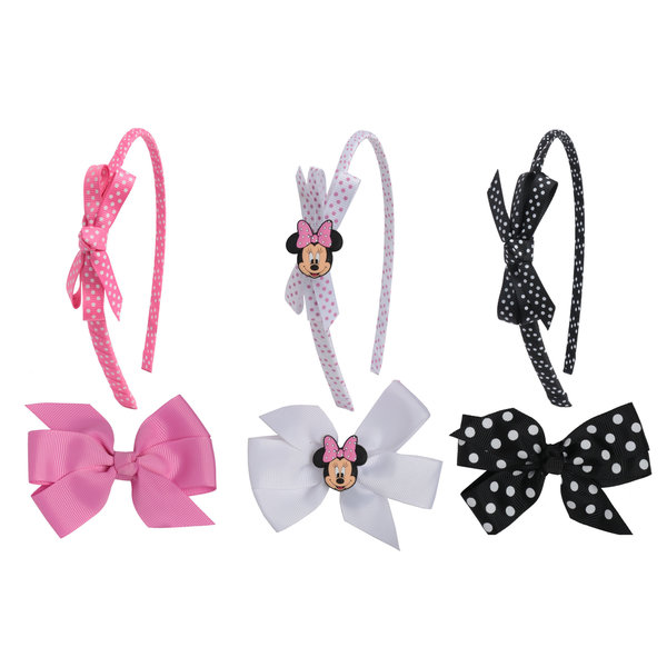 Disney Minnie Mouse 3-piece Headband and 3-piece Grosgrain Hair Bow Set