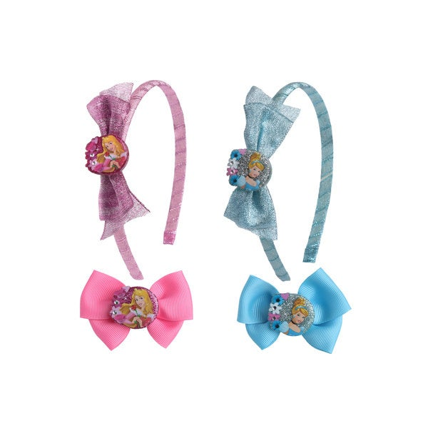 Disney Princesses 2-piece Glitter Headband and 2-piece Bow Set
