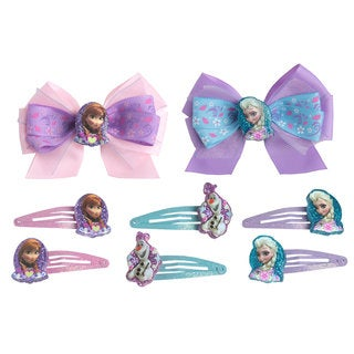 Disney Frozen Girl's Assorted 2-pack Anna-Elsa Bow Hair Clips and 6-piece Snap On Set
