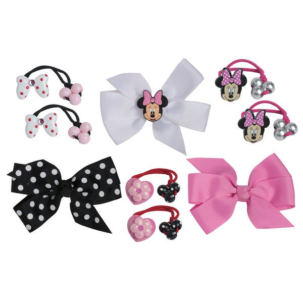 Disney Minnie Mouse 6-piece Knockers Hair Bow and 3-piece Grosgrain Hair Bow Set