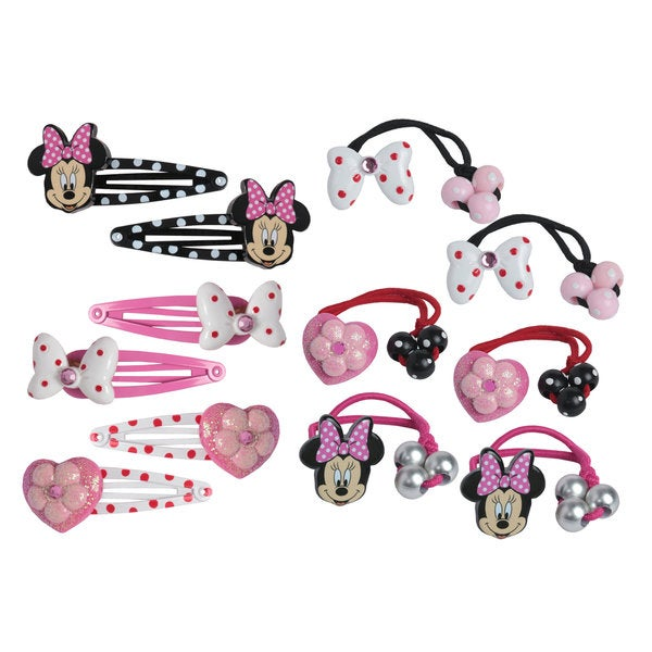 Disney Minnie Mouse 12-piece Snaps and 6-piece Knockers Hair Bow Set