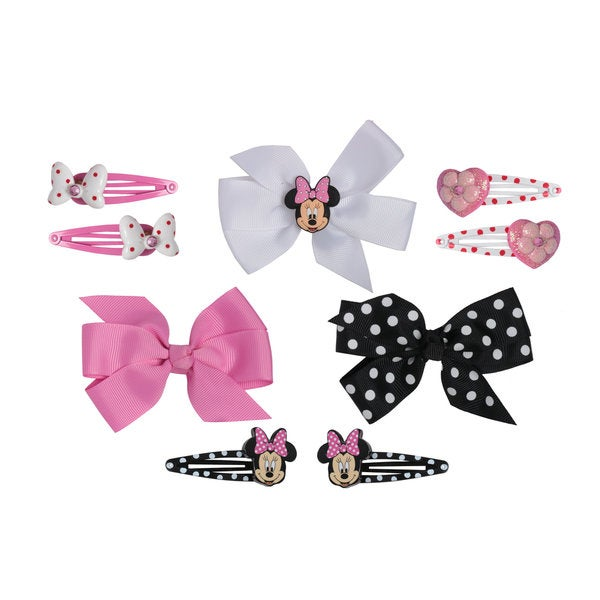 Disney Minnie Mouse 3-piece Grosgrain Hair Bow and 6-piece Snaps Set