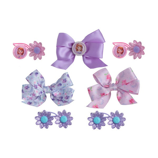 Disney Princess Sofia The First 4-piece Hair Ties and 3-printed Bow Salon Set