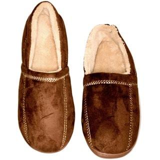 Men's Indoor/ Outdoor Faux Suede/ Fleece Memory Foam House Slippers