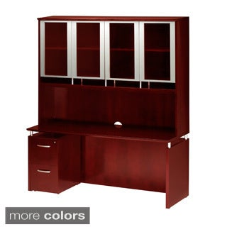 Mayline Napoli Glass Door Hutch with Credenza and File/ Pedestal