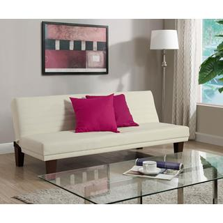 DHP Dillan Vanilla Faux Leather Convertible Futon