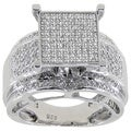 Sterling Silver 1/3ct TDW Diamond Pave Square Setting Ring (G-H, I2-I3)