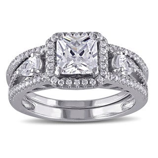 Miadora Sterling Silver Cubic Zirconia Halo Ring