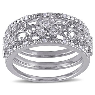 Miadora Sterling Silver 1/10ct TDW Diamond Filigree Vintage Bridal Ring 3-Piece Set (G-H, I2-I3)