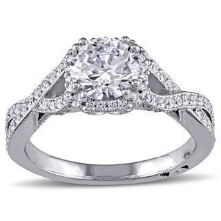 Miadora Signature Collection 18k White Gold Cubic Zirconia and 2/5ct TDW Diamond Ring (G-H, SI1-SI2)