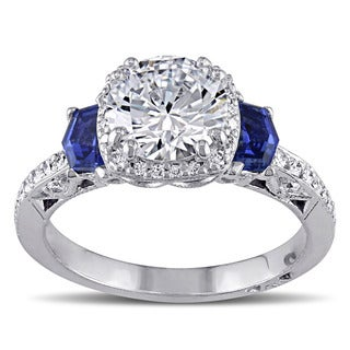 Miadora 18k White Gold Cubic Zirconia and Sapphire with 1/4ct TDW Diamond Ring (G-H, SI1-SI2)