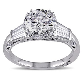 Miadora 18k White Gold Cubic Zirconia and 5/8ct TDW Diamond Ring (G-H, SI1-SI2)