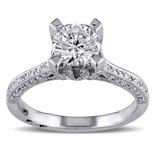 Miadora Signature Collection 18k White Gold Cubic Zirconia and 1/3ct TDW Diamond Ring (G-H, SI1-SI2)