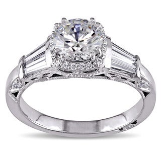 Miadora Signature Collection 18k White Gold Cubic Zirconia and 5/8ct TDW Diamond Ring (G-H, SI1-SI2)