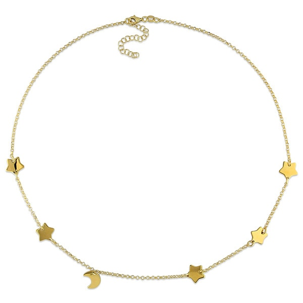 Miadora Yellow Silver Half Moon Star Necklace