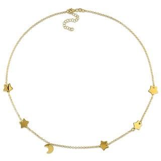 Miadora Yellow Silver Half Moon Star Necklace