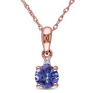 Miadora 10k Rose Gold Tanzanite and Diamond Accent Necklace (G-H, I2-I3)