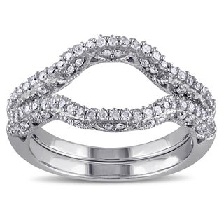 Miadora 10k White Gold 1/2ct TDW Diamond Wedding Band (G-H, I2-I3)