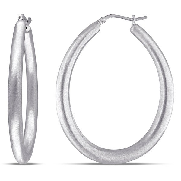 Miadora White Silver Hoop Earrings