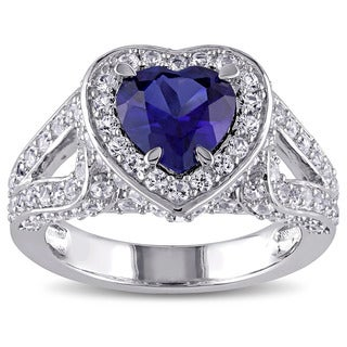 Miadora Silver Created Blue and White Sapphire Halo Heart Ring