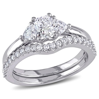 Miadora Signature Collection 14k White Gold 1 1/5ct TDW Diamond Bridal Ring set (G-H,I1-I2)