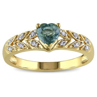 Miadora 10k Yellow Gold Green Sapphire and Diamond Accent Ring