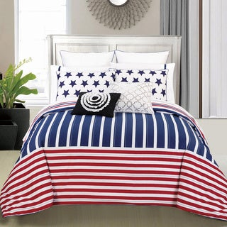 Couture Home Collection Lilliana Reversible Striped 3-piece Duvet Cover Set