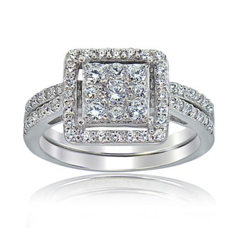 ICZ Stonez Sterling Silver Cubic Zirconia Square Bridal Ring Set