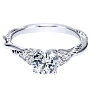 14k White Gold Cubic Zirconia and 1/8ct TDW Diamond 3-Stone Carved Semi-mount Bridal Ring Set (H-I, I1-I2) (Size 4)