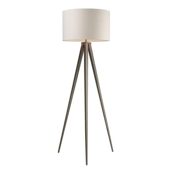Dimond Salford Satin Nickel Off-white Linen Shade Floor Lamp
