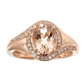 Anika and August 10k Rose Gold Oval-cut Morganite and 1/5ct TDW Diamond Ring (G-H, I1-I2) (Size 7)