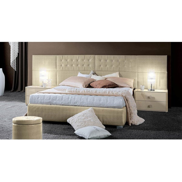 Luca Home Gloss Ivory Patterned Vinyl Bed