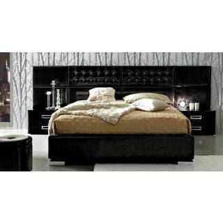 Luca Home Gloss Black Patterned Vinyl Bed