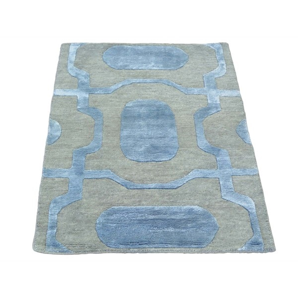 Silver Wool and Silk Modern Oriental Rug Sample Handmade (2'1 x 3')