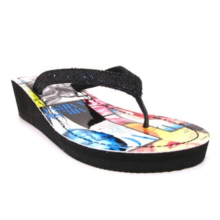 Olivia Miller 'Gossip' Colored Magazine Printed Wedge Flip-flops