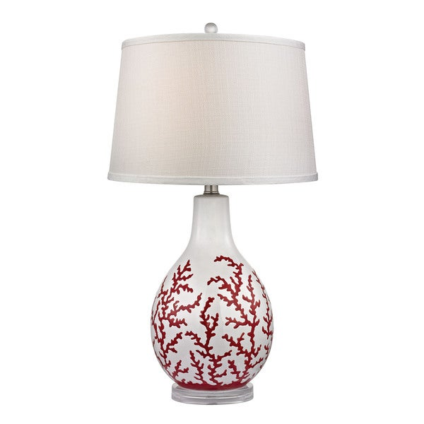 Dimond Sixpenny Red Coral White Table Lamp