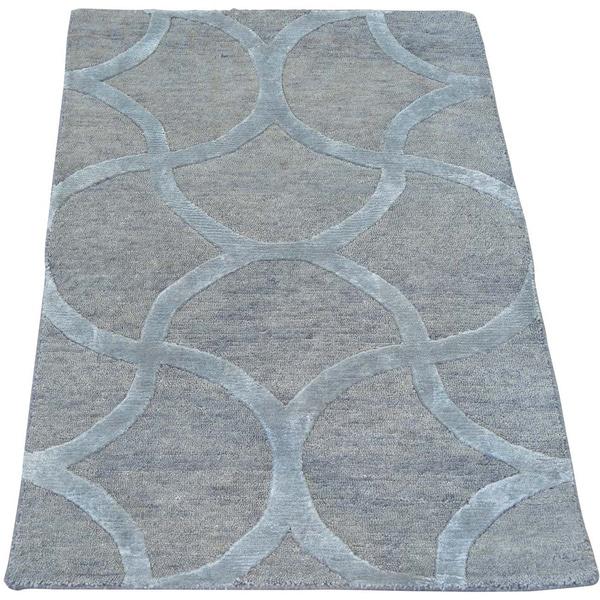Silver Wool and Silk Modern Oriental Rug Sample Handmade (2' x 2'10)