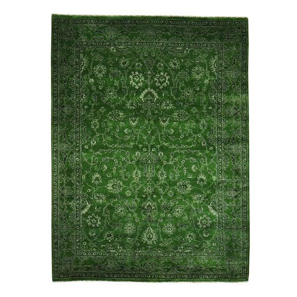 Wool and Silk Forest Green Kashan Oriental Rug Handmade (5' x 6'10)
