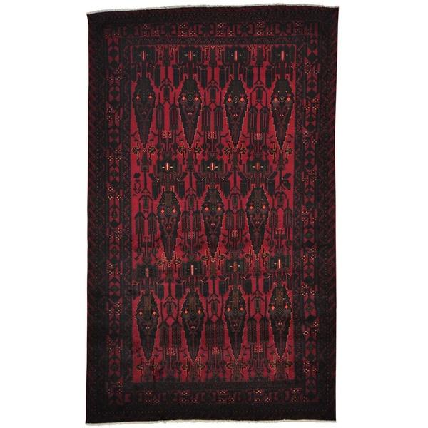 Red Afghan Baluchi 100 Percent Wool Handmade Oriental Rug (6'2 x 10'3)