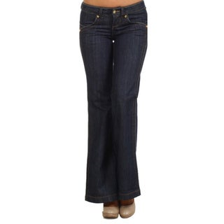 Tabeez Woman's Wide Leg Embellished Dark Denim Jeans