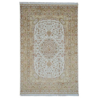 Signed Ivory Tabriz Hand Knotted Oriental Rug 600 kpsi (6'2 x 9'6)