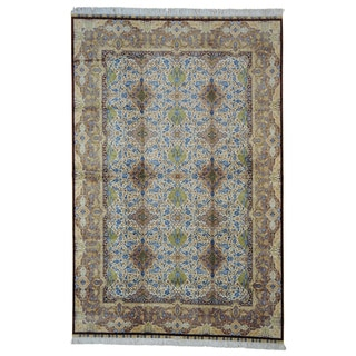Signed Kashan Hand Knotted 100 Percent Silk Oriental Rug (6'10 x 10'3)