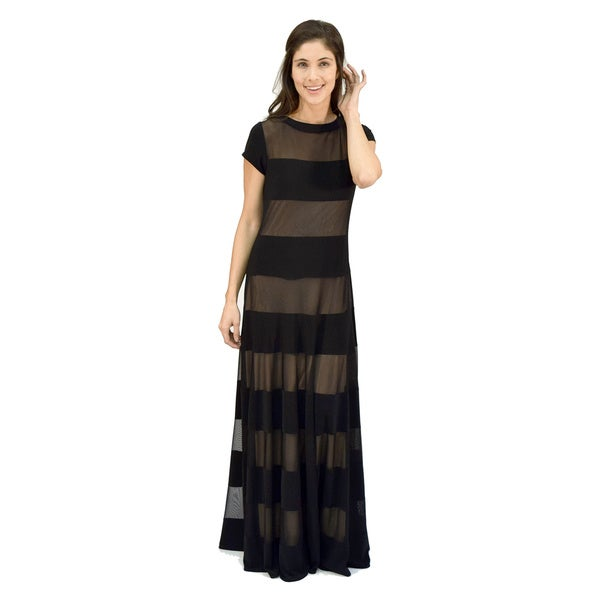 R&M Richards Sheer Band Maxi Dress