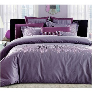 Egyptian Cotton Purple Sequin Sequin Delight Queen 7-piece Duvet Cover Set