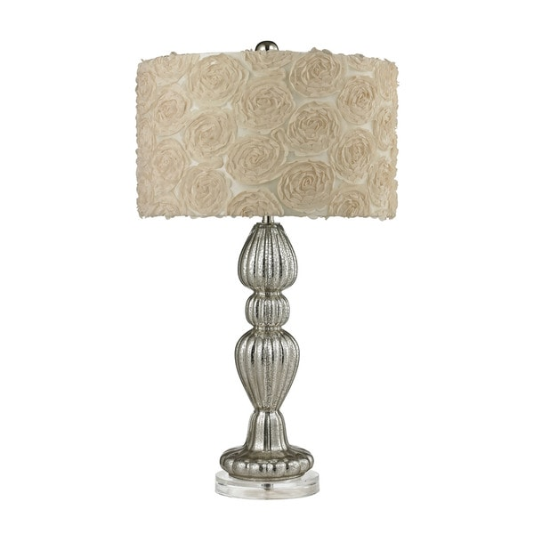 Dimond Ribbed Glass Silver Mercury Table Lamp