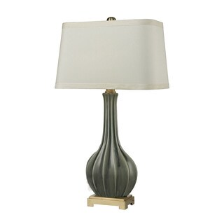 Dimond Fluted Ceramic Grey Glaze Table Lamp
