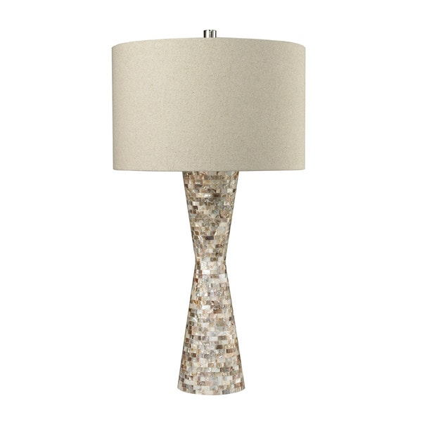 dimond mother of pearl waisted sand linen shade table lamp 17429938. Black Bedroom Furniture Sets. Home Design Ideas