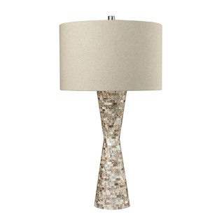 Dimond Mother of Pearl Waisted Sand Linen Shade Table Lamp