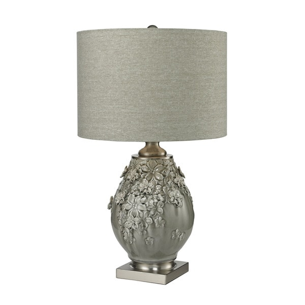 Dimond Hand Formed Foliage Grey Glazed Ceramic Table Lamp